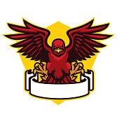 hawk mascot spreading the wings
