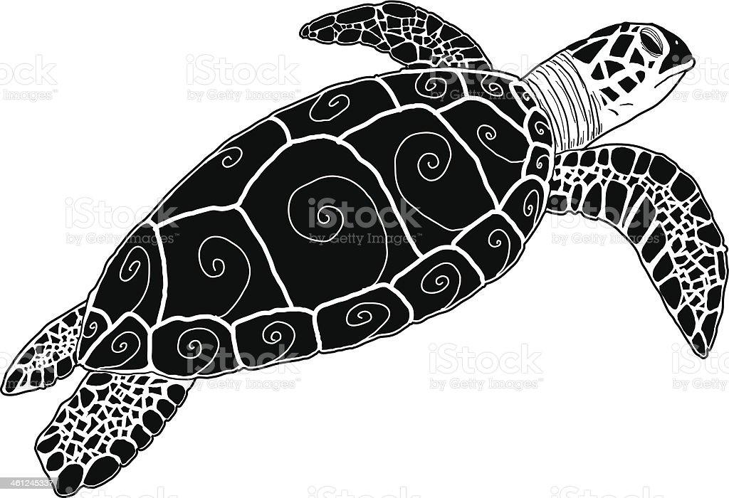 Hawksbill Green Sea Turtle Silhouette Tribal Stock Vector Art 461245337 Istock