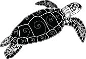 Hawksbill Green Sea Turtle Silhouette Tribal