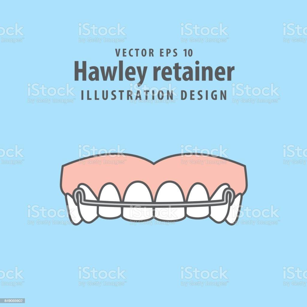Hawley retainer illustration vector on blue background. Dental concept. vector art illustration