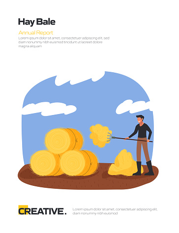 Hay Bale Concept Flat Design for Posters, Covers and Banners. Modern Flat Design Vector Illustration.
