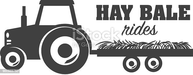 Hay Bale Rides icon design, includes tractor, wagon, hay and placement text