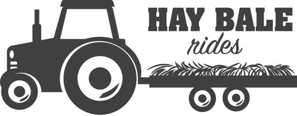 Hay Bale Rides icon design vector art illustration