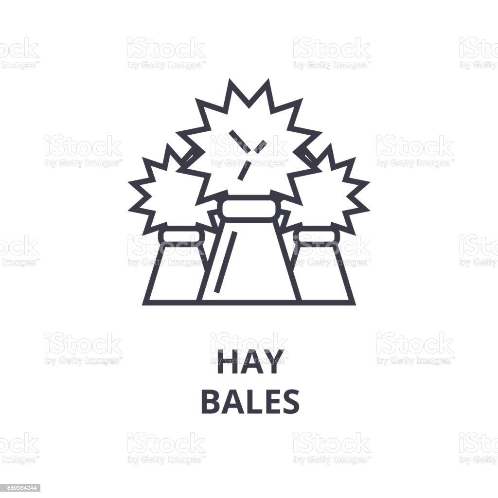 hay bales line icon, outline sign, linear symbol, vector, flat illustration vector art illustration