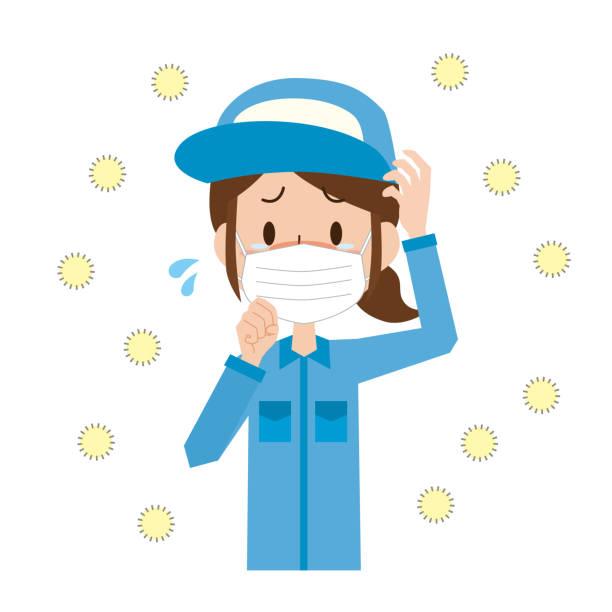 花粉症女性労働者 - くしゃみ 日本人点のイラスト素材/クリップアート素材/マンガ素材/アイコン素材
