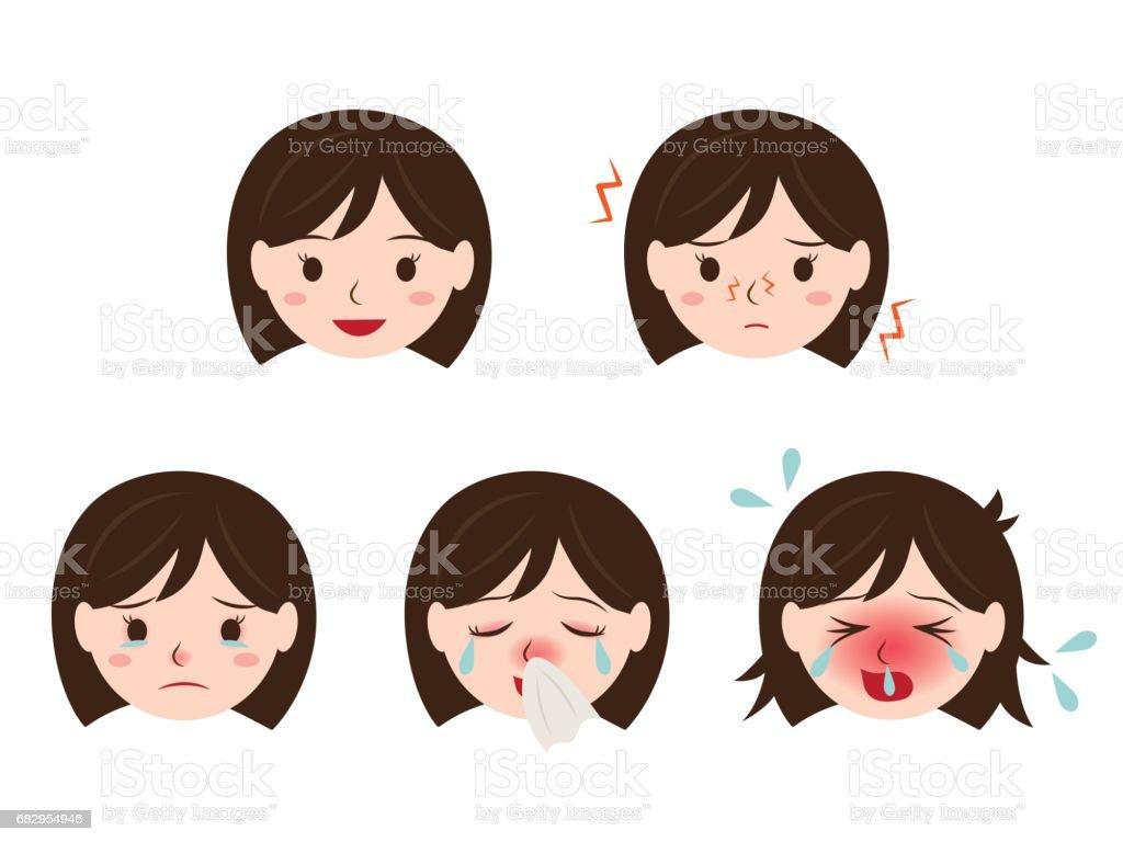 hay fever icon set vector art illustration