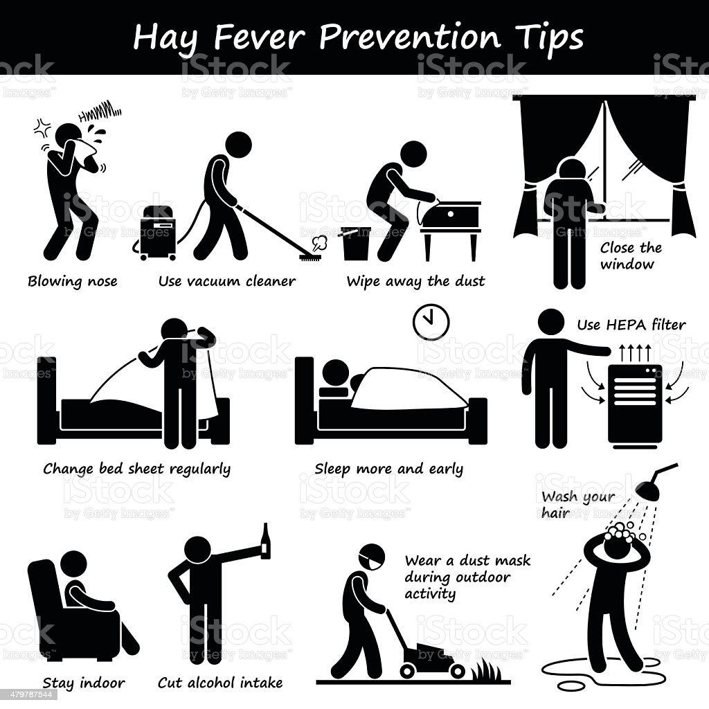 Hay Fever Prevention Allergy Tips Stick Figure Pictogram Icons vector art illustration