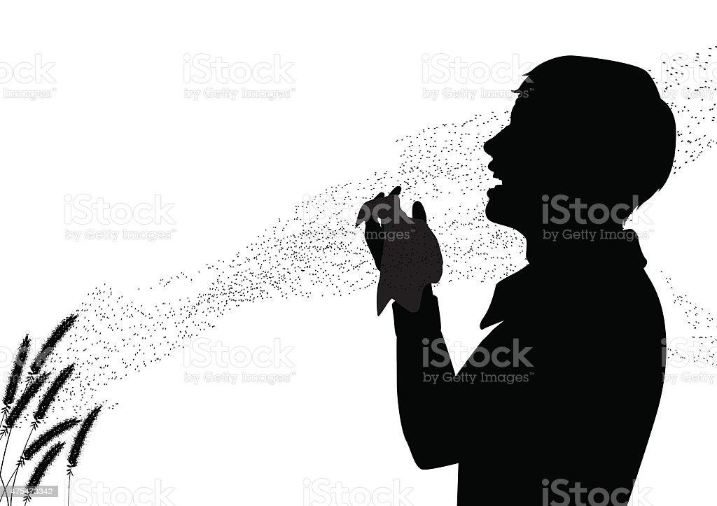 Hay fever vector art illustration