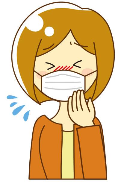 花粉症女性 - マスク 日本人点のイラスト素材/クリップアート素材/マンガ素材/アイコン素材