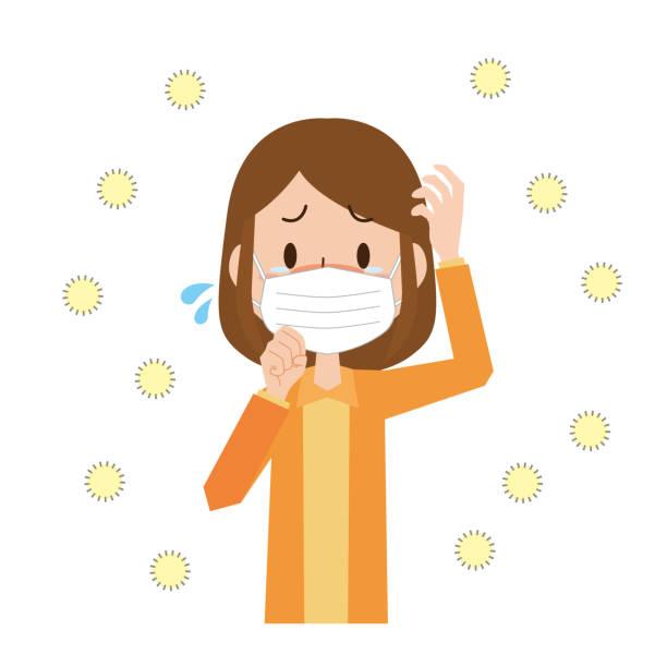 花粉症の女性 - マスク 日本人点のイラスト素材/クリップアート素材/マンガ素材/アイコン素材