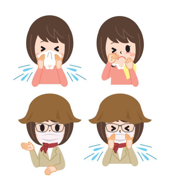 花粉症 レディースセット - くしゃみ 日本人点のイラスト素材/クリップアート素材/マンガ素材/アイコン素材