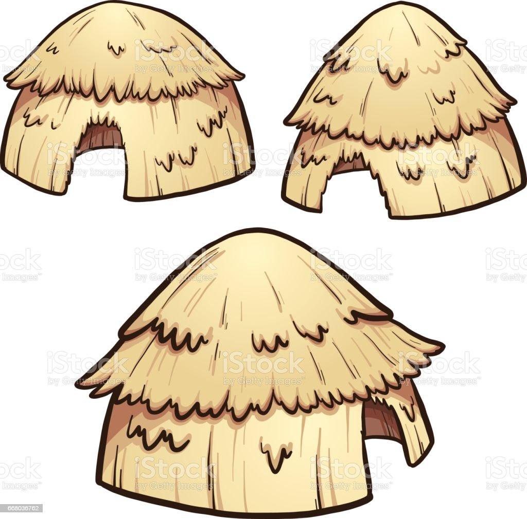 Hay huts vector art illustration