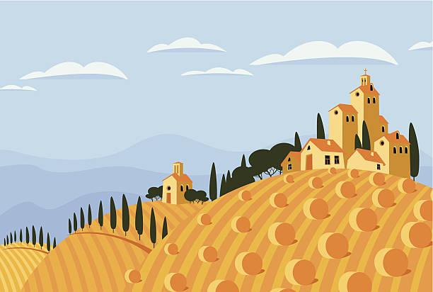 ilustrações de stock, clip art, desenhos animados e ícones de hay no espaço rural italiana - driveway, no people