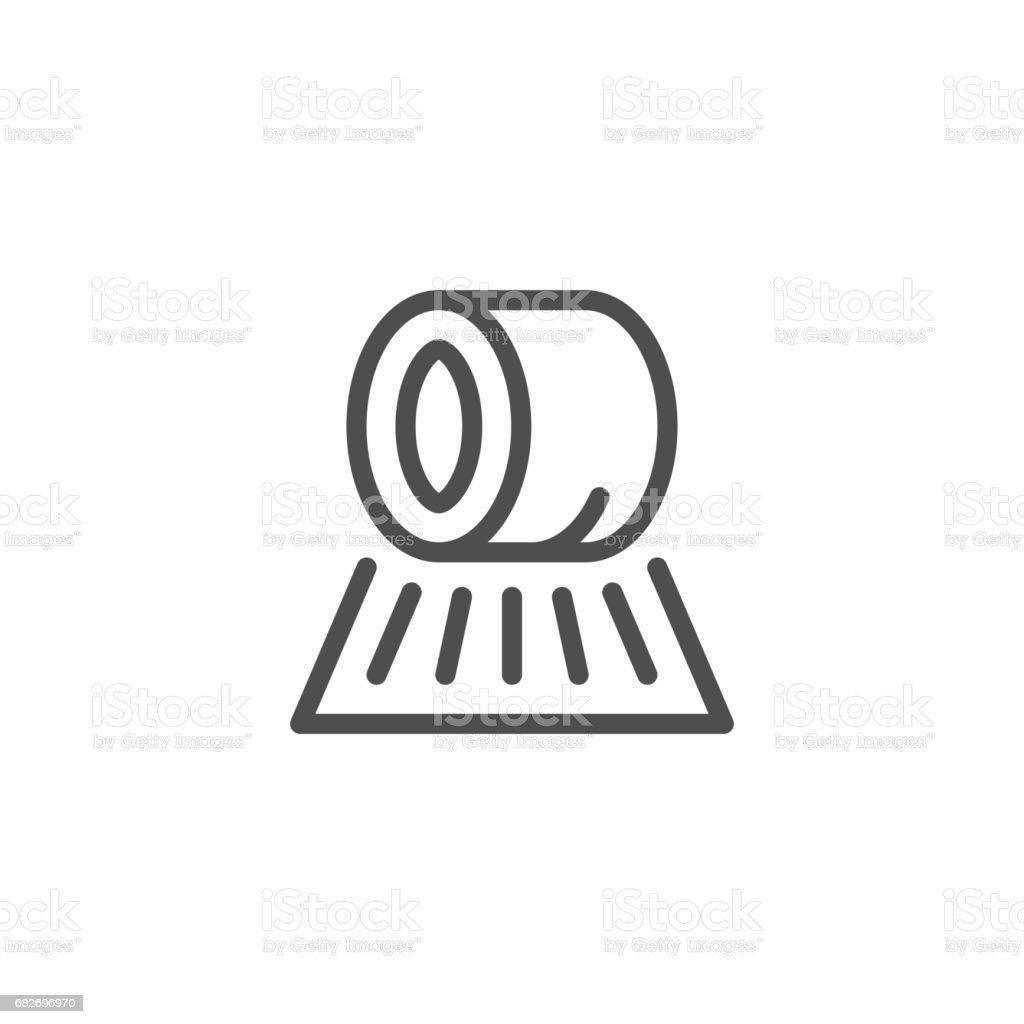 Hay roll line icon vector art illustration
