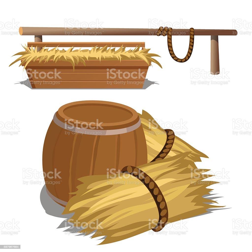 Hay to feed livestock and barrel vector art illustration