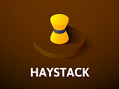Haystack isometric icon, isolated on color background