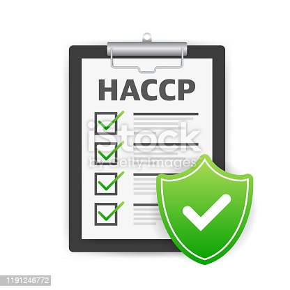 HACCP. Hazard Analysis Critical Control Points icon with award or checkmark.