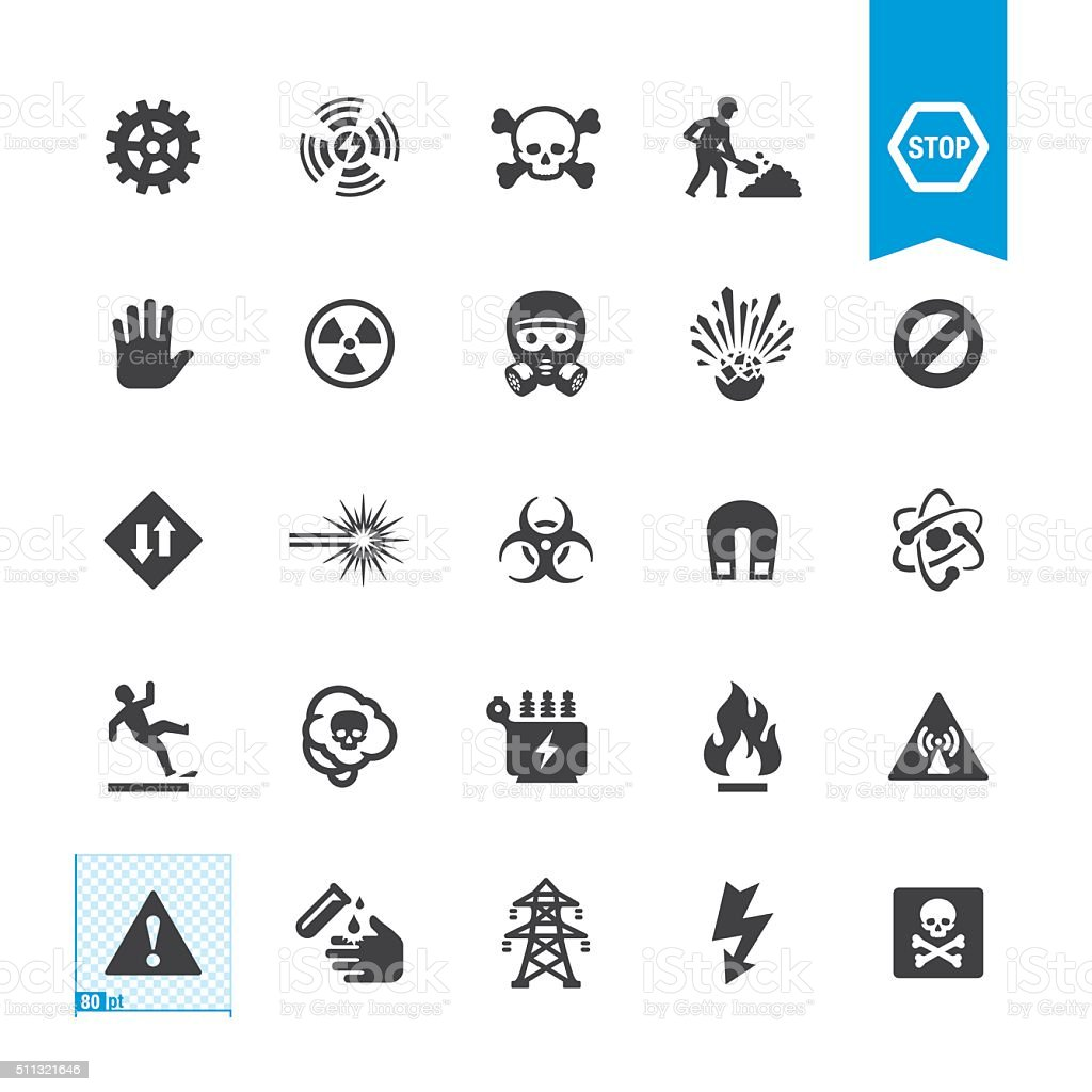 Hazard and Warning vector signs vector art illustration