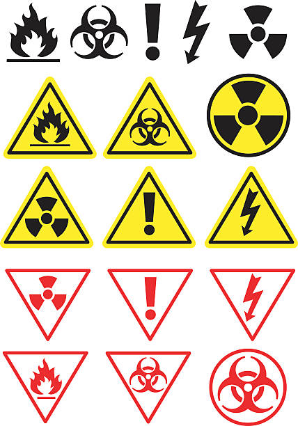 hazard icons and symbols - signs and symbols stock illustrations