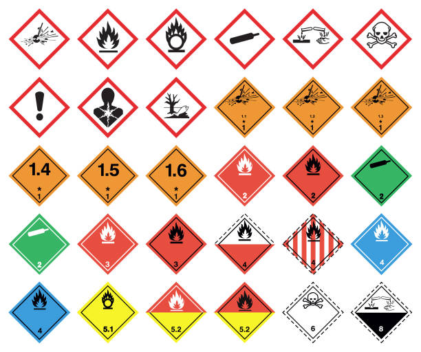 GHS hazard pictograms Classification and Labeling of Chemicals. hazardous chemicals stock illustrations