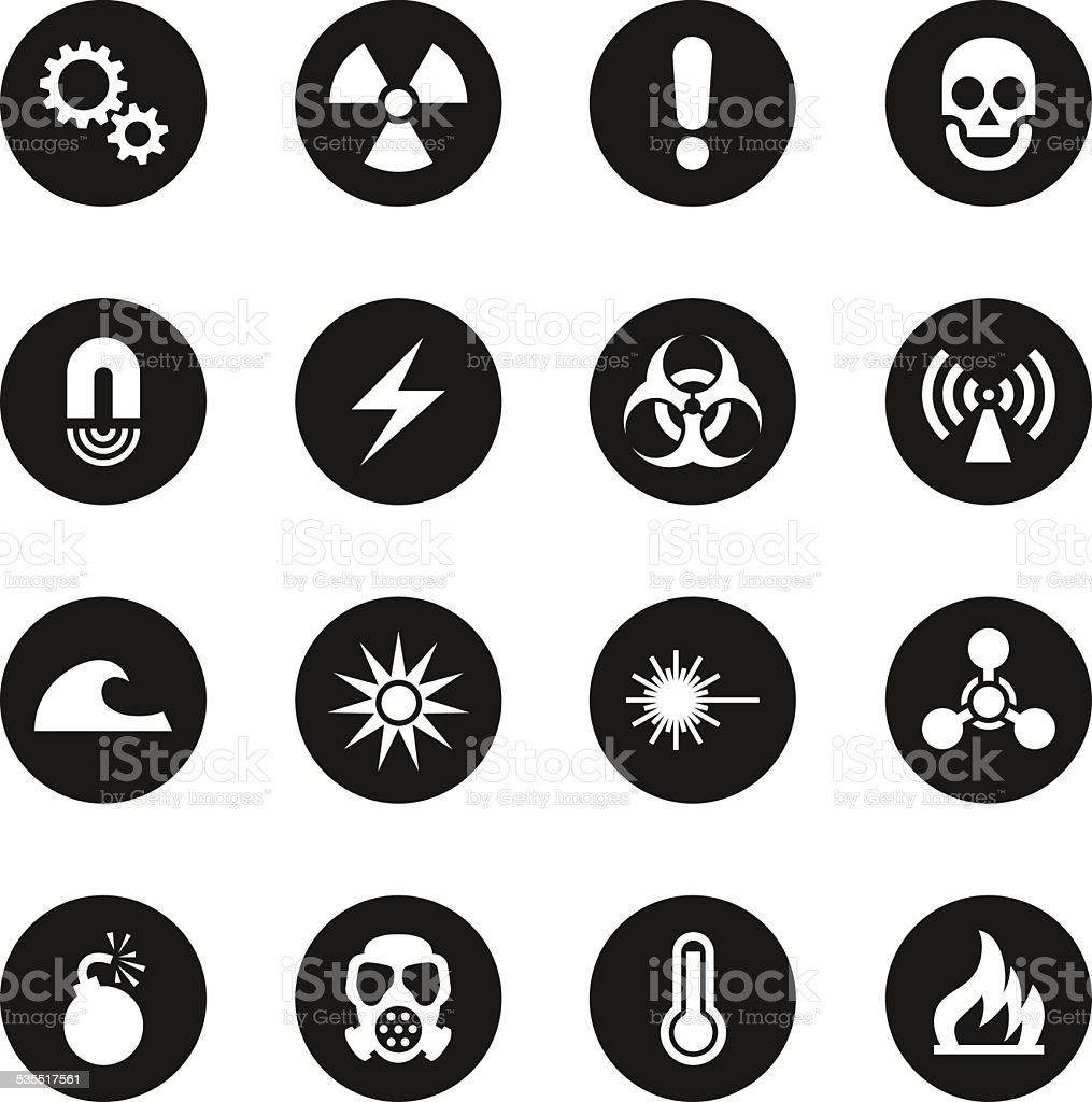 Hazard Sign Icons - Black Circle Series vector art illustration
