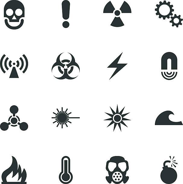 дорожный знак опасности силуэт пиктограммы - lightning stock illustrations