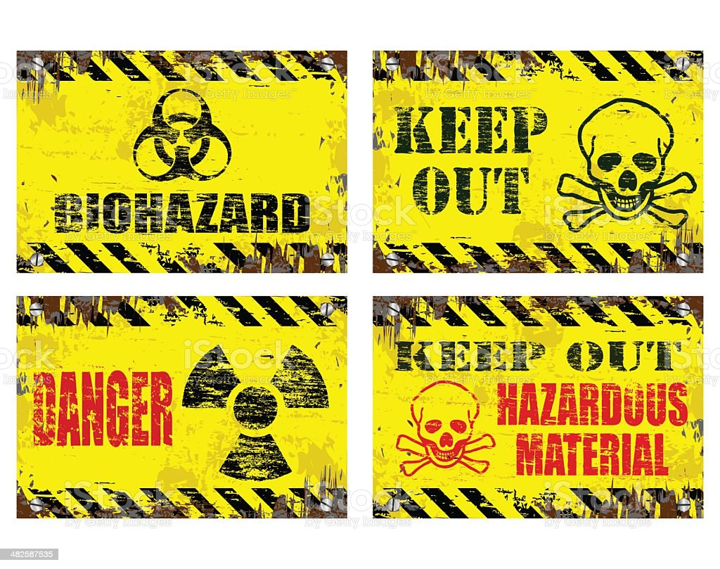 Hazard Signs vector art illustration