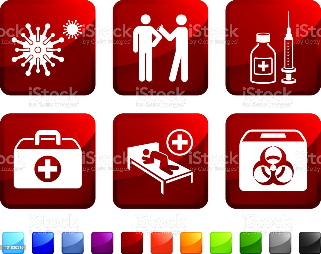 Hazard Virus Sickness and Vaccination royalty free vector icon set royalty-free stock vector art