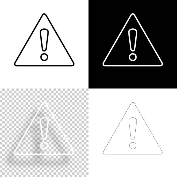 Hazard warning attention. Icon for design. Blank, white and black backgrounds - Line icon vector art illustration