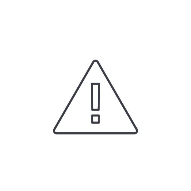 hazard, warning, attention thin line icon. linear vector symbol - attention stock illustrations, clip art, cartoons, & icons