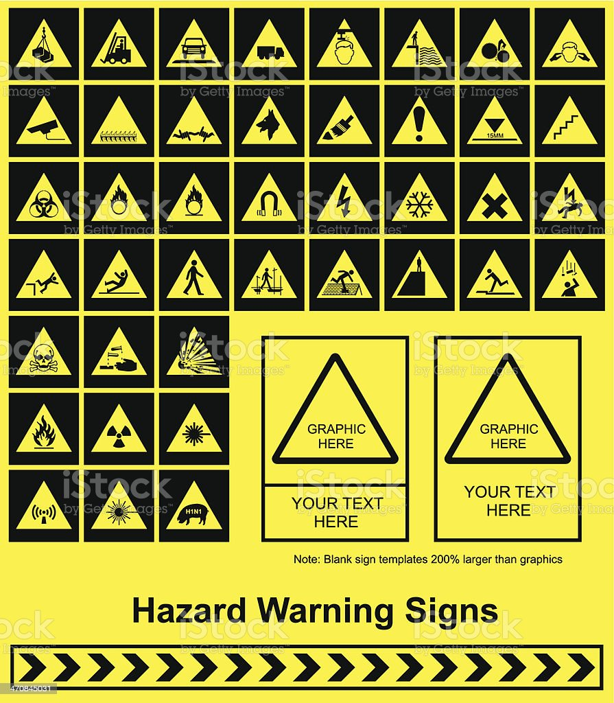 Hazard Warning signs royalty-free stock vector art