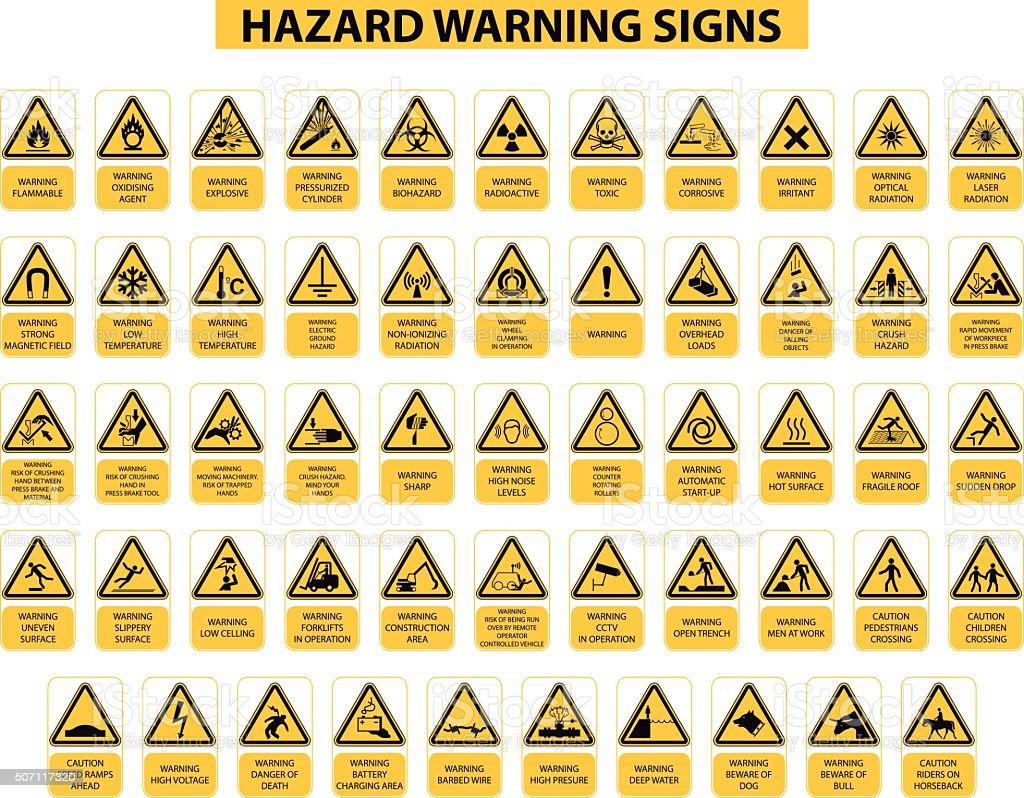 hazard warning signs vector art illustration