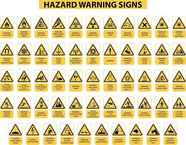 ilustrações de stock, clip art, desenhos animados e ícones de sinais de aviso de perigo - inflamável