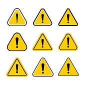 Hazard warning symbol set. Vector warning icons isolated on white background. Flat symbol with exclamation mark.