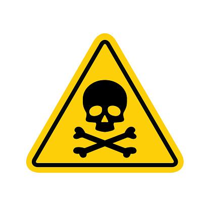 Hazard warning symbol vector icon flat sign symbol with exclamation mark isolated on white background