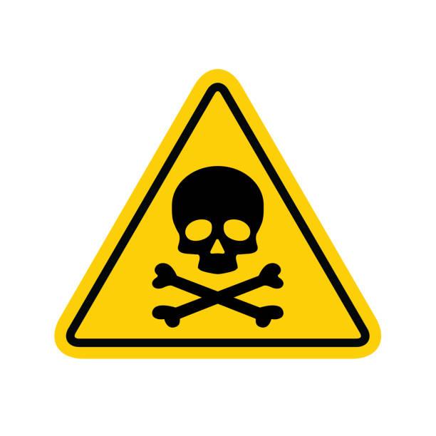 위험 경고 기호 벡터 아이콘 평면 기호 기호 흰색 배경에 고립 된 느낌표 표시 - 독성 물질 stock illustrations