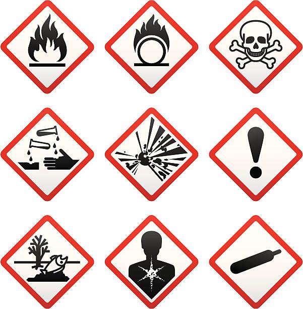 GHS hazard warning symbols. Safety Labels  poisonous stock illustrations