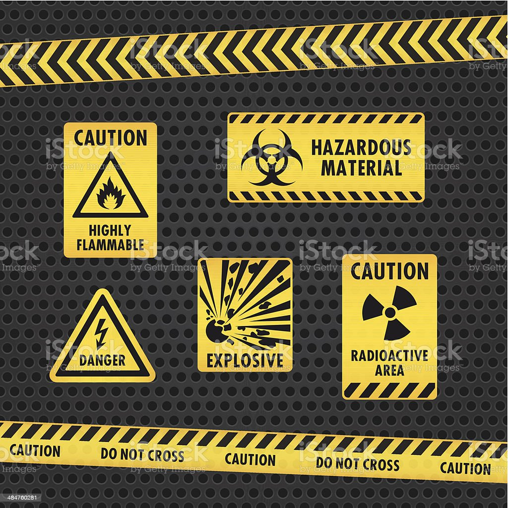 Hazard Warning Tape and Labels vector art illustration