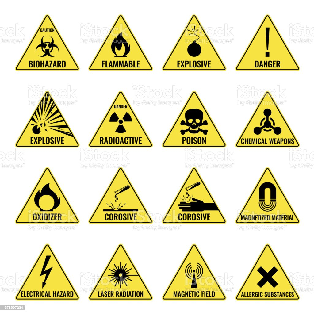 Hazard warning triangual yellow icon set on white vector art illustration