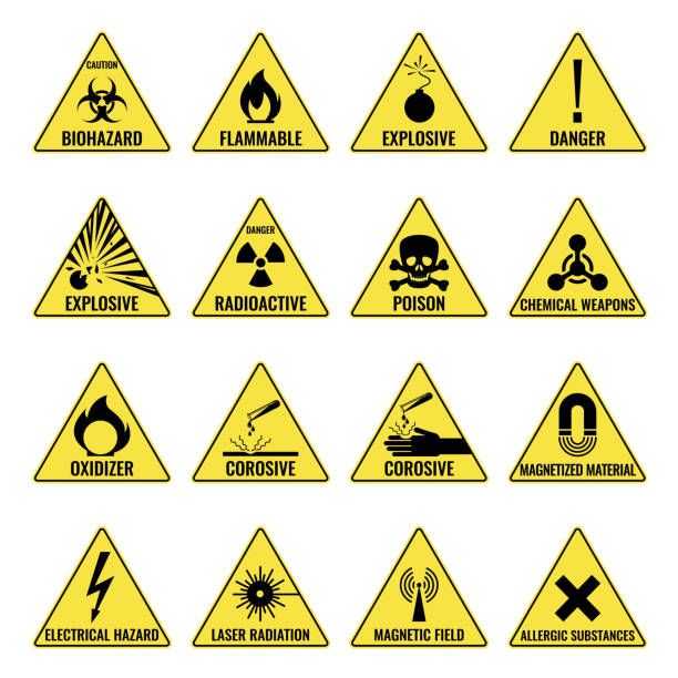Hazard warning triangual yellow icon set on white Hazard warning triangular yellow icon set on white. Vector colorful illustration of caution signs showing dangerous places or things hazardous chemicals stock illustrations