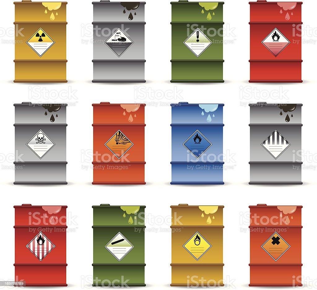 Hazardous Chemical Drums vector art illustration