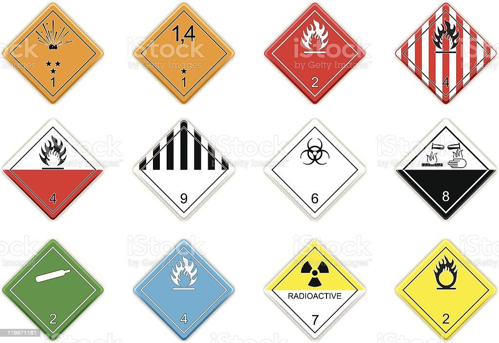Hazardous goods signs vector art illustration