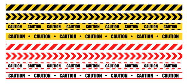 위험 경고 테이프 세트는 건설 및 범죄에 대 한 주의 해야 합니다. - 노랑 stock illustrations