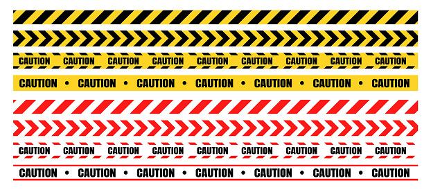 Vetores de Conjuntos De Fita De Advertência Perigosas Devem Ser Cuidadosos Para Construção E Crime e mais imagens de Acessibilidade