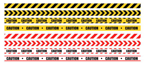 ilustrações de stock, clip art, desenhos animados e ícones de hazardous warning tape sets must be careful for construction and crime. - seguros