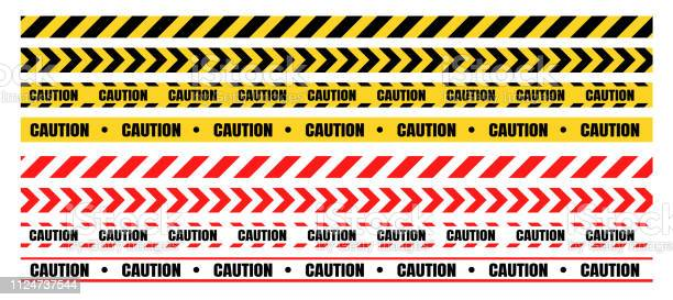 Hazardous Warning Tape Sets Must Be Careful For Construction And Crime - Arte vetorial de stock e mais imagens de Acessibilidade