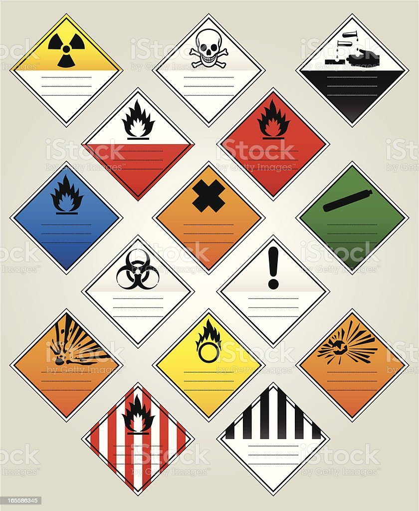 HazChem Warning Diamonds vector art illustration