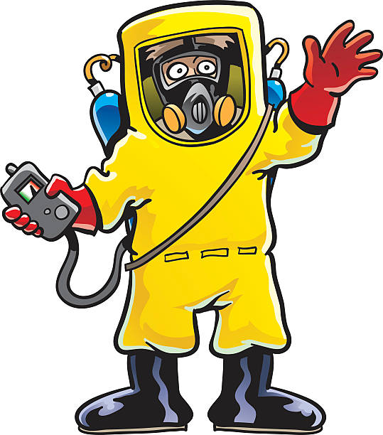 hazmat suit - cartoon of a hazmat suit stock illustrations, clip art, cartoons, & icons