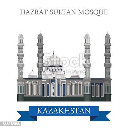 istock Hazrat Sultan Mosque in Astana, Kazakhstan. Flat cartoon style historic sight showplace attraction web site vector illustration. World countries cities vacation travel sightseeing Asia collection. 688542586