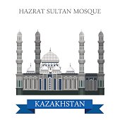 Hazrat Sultan Mosque in Astana, Kazakhstan. Flat cartoon style historic sight showplace attraction web site vector illustration. World countries cities vacation travel sightseeing Asia collection.